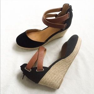 Comfy black and leather strap wedges